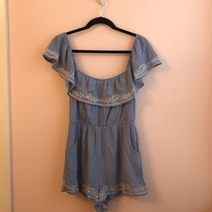 Sky Blue Embroidered Romper